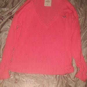 Hollister Sz M Orange V-Neck Sweater